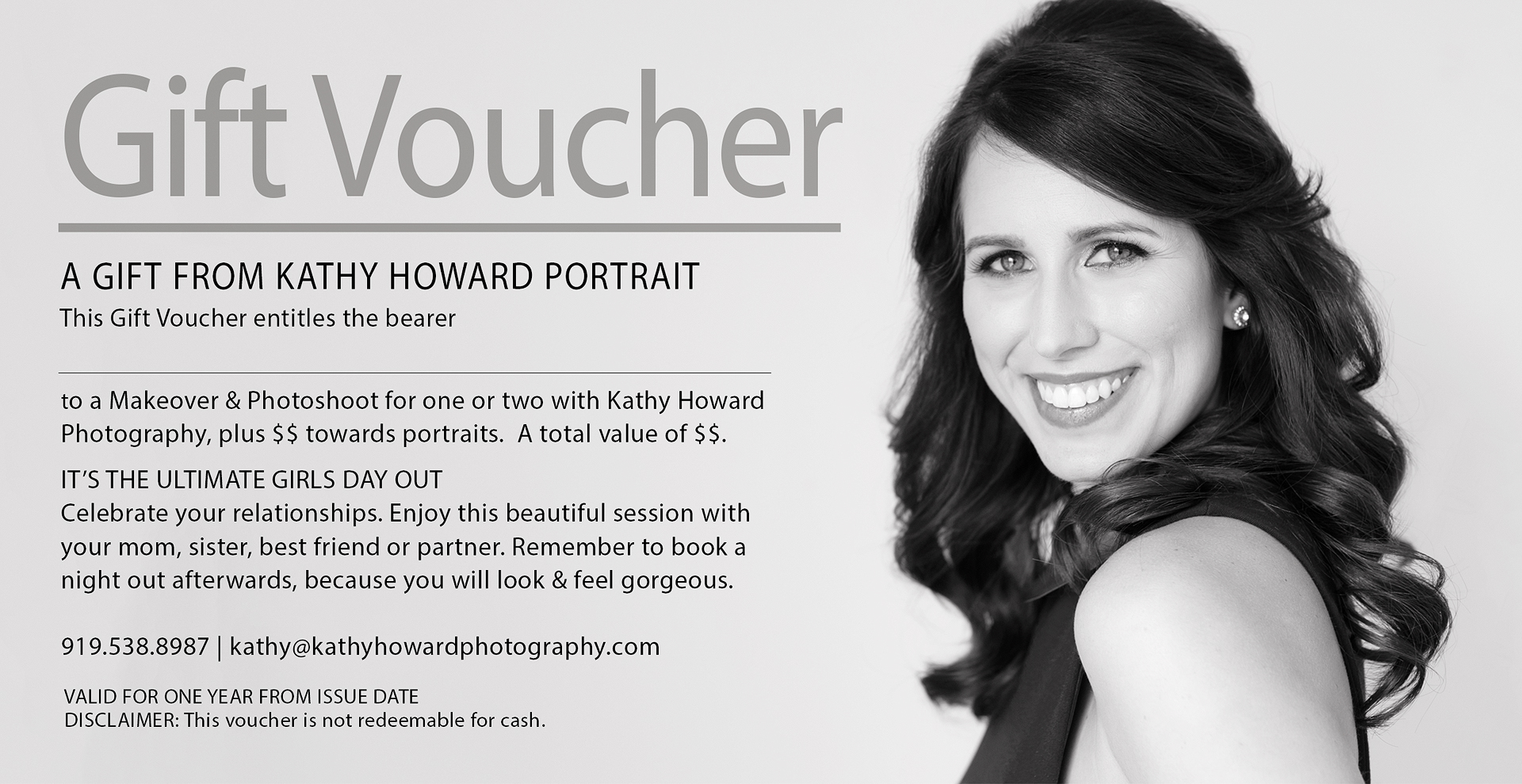 Kathy Howard Portrait Gift Voucher Raleigh Cary Head Shot Photographer